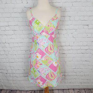 Lilly Pulitzer Strap Dress Blue Pink Floral sz 8